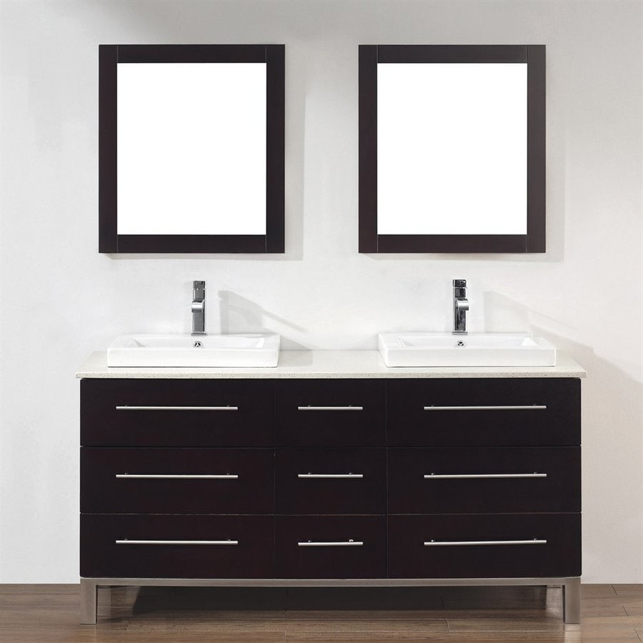 Spa Bathe Grada Chai 63-in Drop-in Double Sink Bathroom Vanity with Quartz Top (Mirror Included)