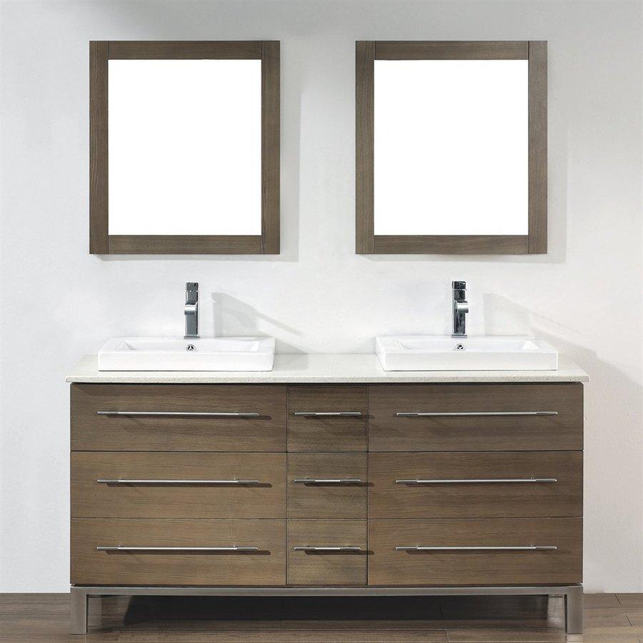 Spa Bathe Grada Smoked Ash 63-in Drop-in Double Sink Bathroom Vanity with Quartz Top (Mirror Included)