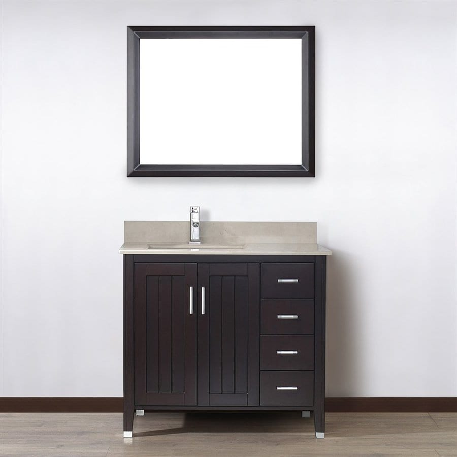 Spa Bathe Jaq Chai 36-in Undermount Single Sink Bathroom Vanity with Natural Marble Top (Mirror Included)