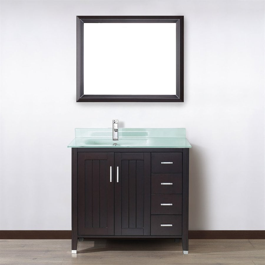 Spa Bathe Jaq Chai Integrated Single Sink Bathroom Vanity with Glass Top (Common: 36-in x 22-in; Actual: 36-in x 22-in)
