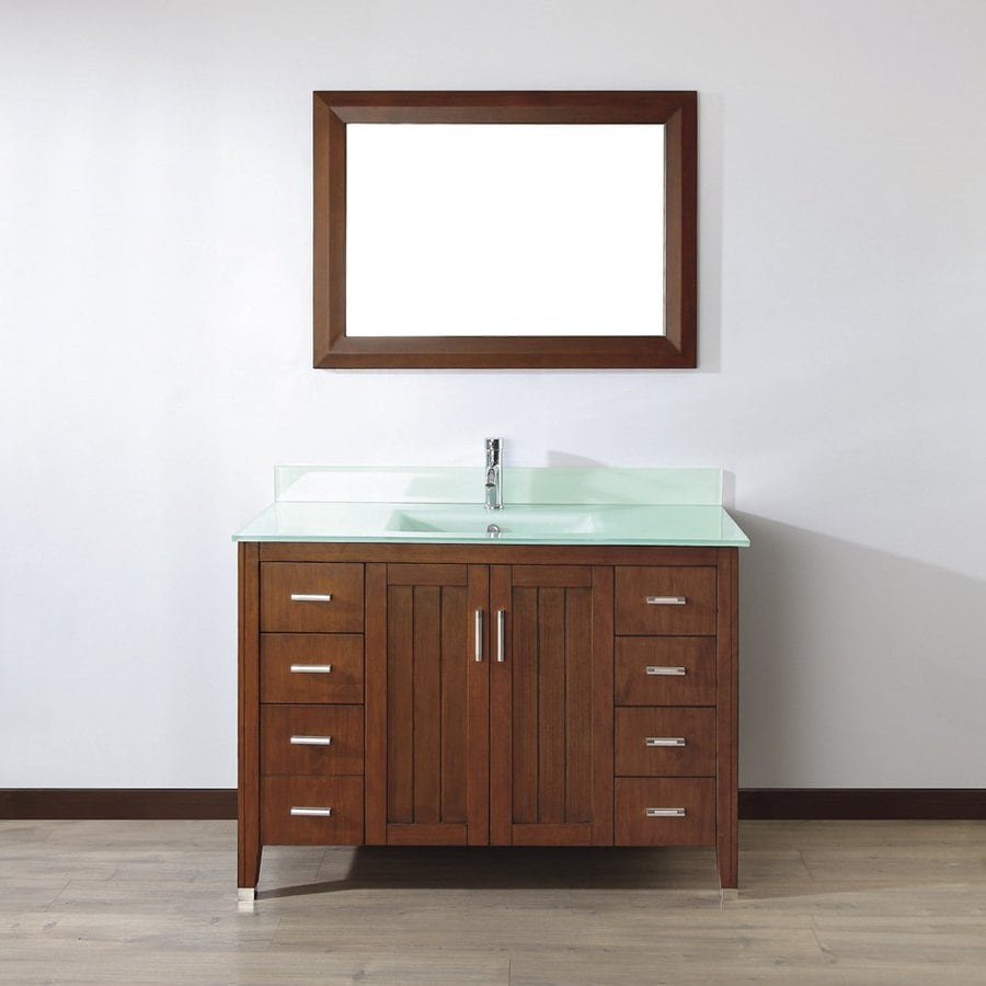 Spa Bathe Jaq Classic Cherry 48-in Integral Single Sink Bathroom Vanity with Glass Top (Mirror Included)