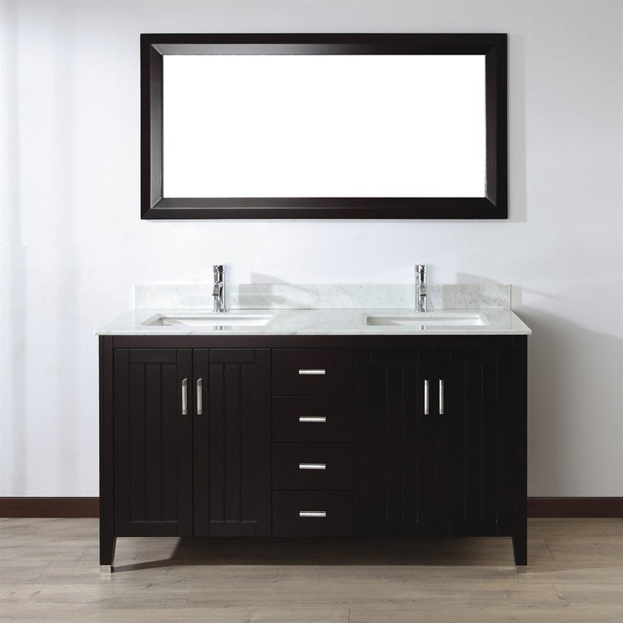 Spa Bathe Jaq Chai (Common: 60-in x 22-in) Undermount Double Sink Bathroom Vanity with Natural Marble Top (Mirror Included) (Actual: 60-in x 22-in)