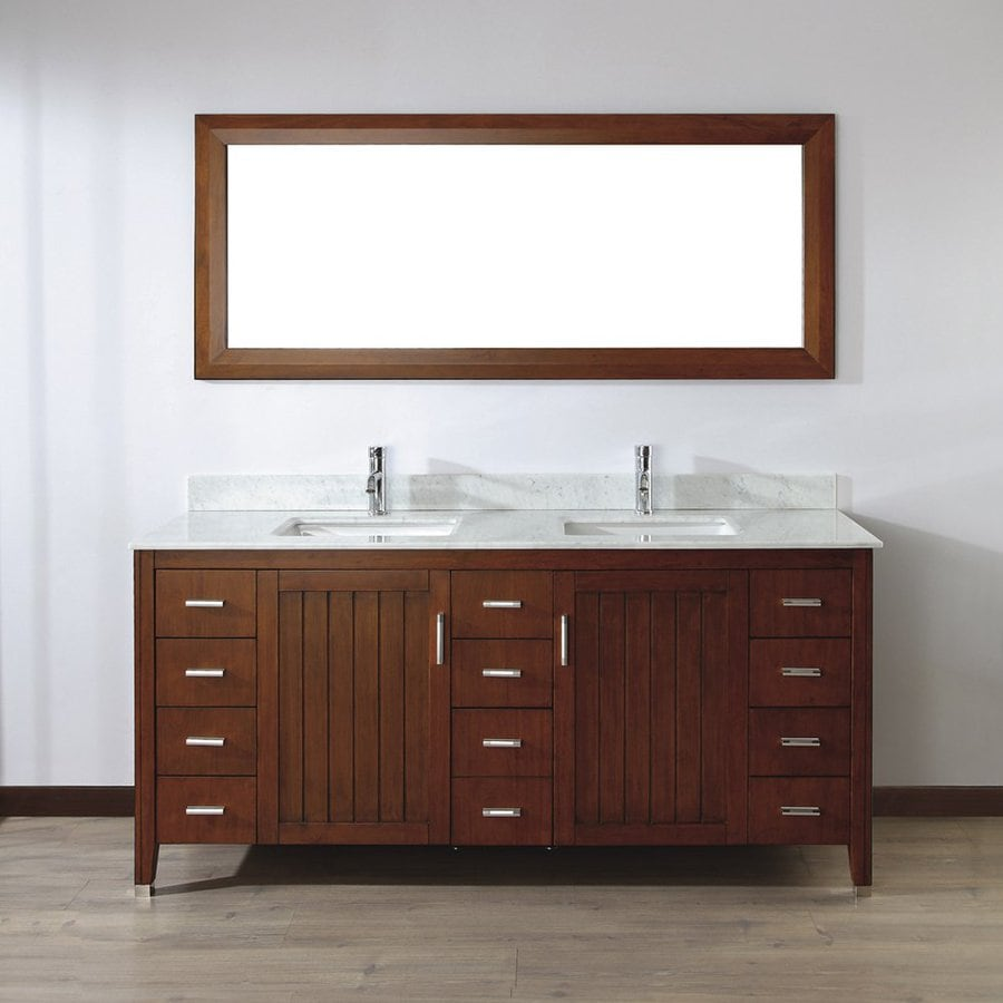 Spa Bathe Jaq Classic Cherry 72-in Undermount Double Sink Bathroom Vanity with Natural Marble Top (Mirror Included)