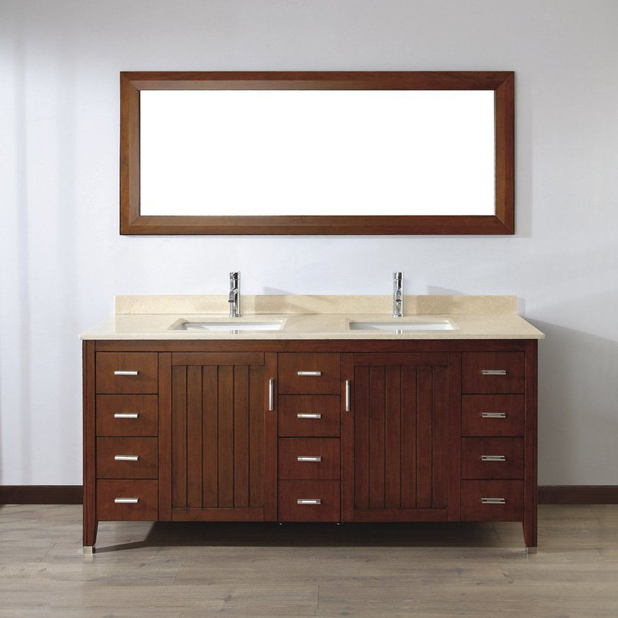 Spa Bathe Jaq Classic Cherry (Common: 72-in x 22-in) Undermount Double Sink Bathroom Vanity with Natural Marble Top (Mirror Included) (Actual: 72-in x 22-in)