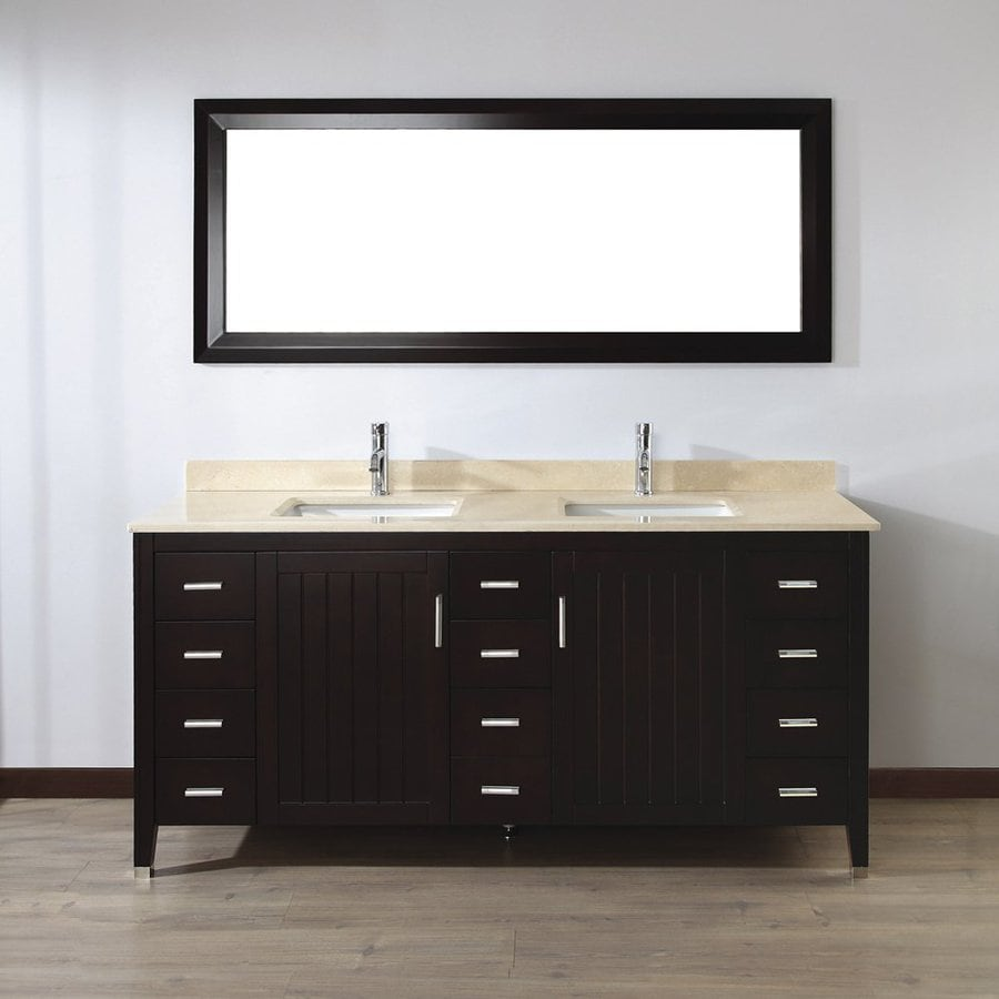 Spa Bathe Jaq Chai 72-in Undermount Double Sink Bathroom Vanity with Natural Marble Top (Mirror Included)