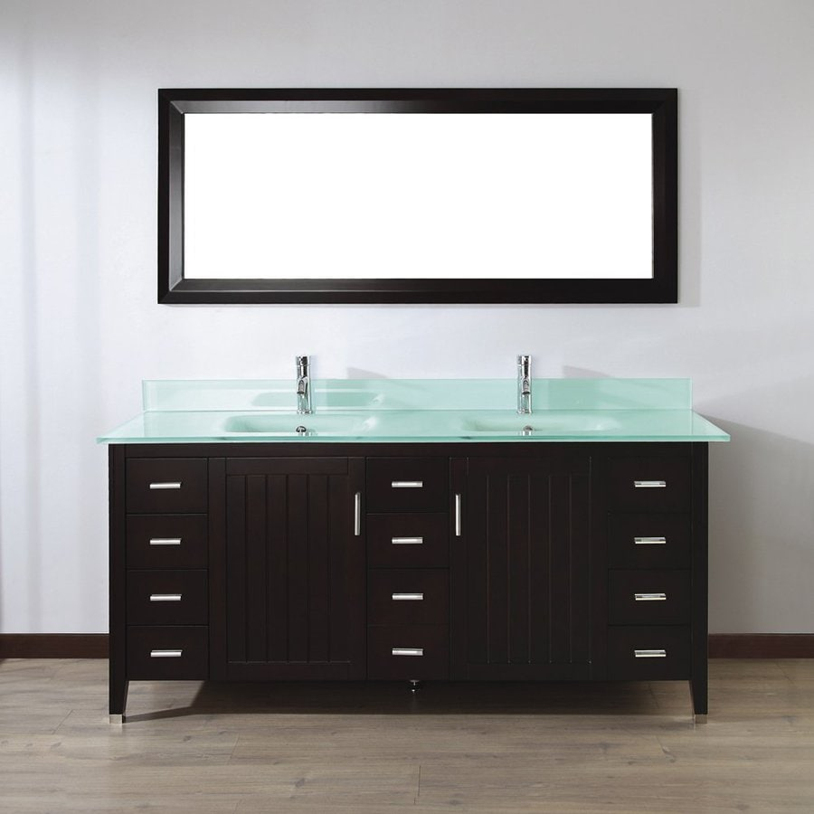 Spa Bathe Jaq Chai (Common: 72-in x 22-in) Integral Double Sink Bathroom Vanity with Glass Top (Mirror Included) (Actual: 72-in x 22-in)