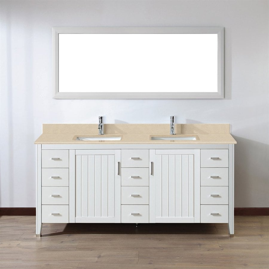 Spa Bathe Jaq White 72-in Undermount Double Sink Bathroom Vanity with Natural Marble Top (Mirror Included)