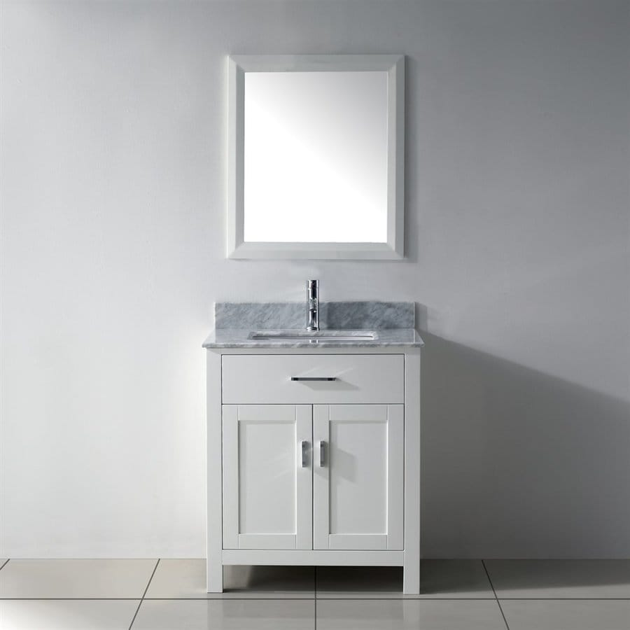 Spa Bathe Kenzie White Undermount Single Sink Bathroom Vanity with Natural Marble Top (Common: 30-in x 22-in; Actual: 30-in x 22-in)