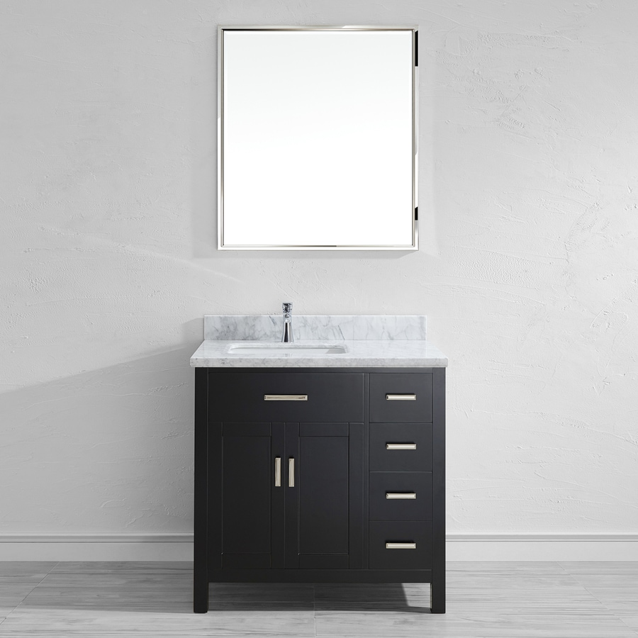 Spa Bathe Kenzie Espresso 36-in Undermount Single Sink Bathroom Vanity with Natural Marble Top (Mirror Included)
