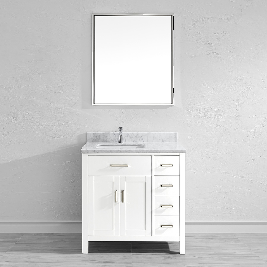 Spa Bathe Kenzie White 36-in Undermount Single Sink Bathroom Vanity with Natural Marble Top (Mirror Included)