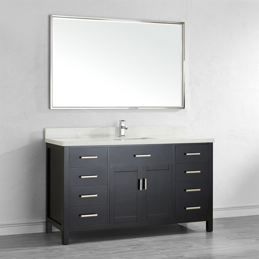 single sink bathroom vanity with engineered stone top common 60 in x