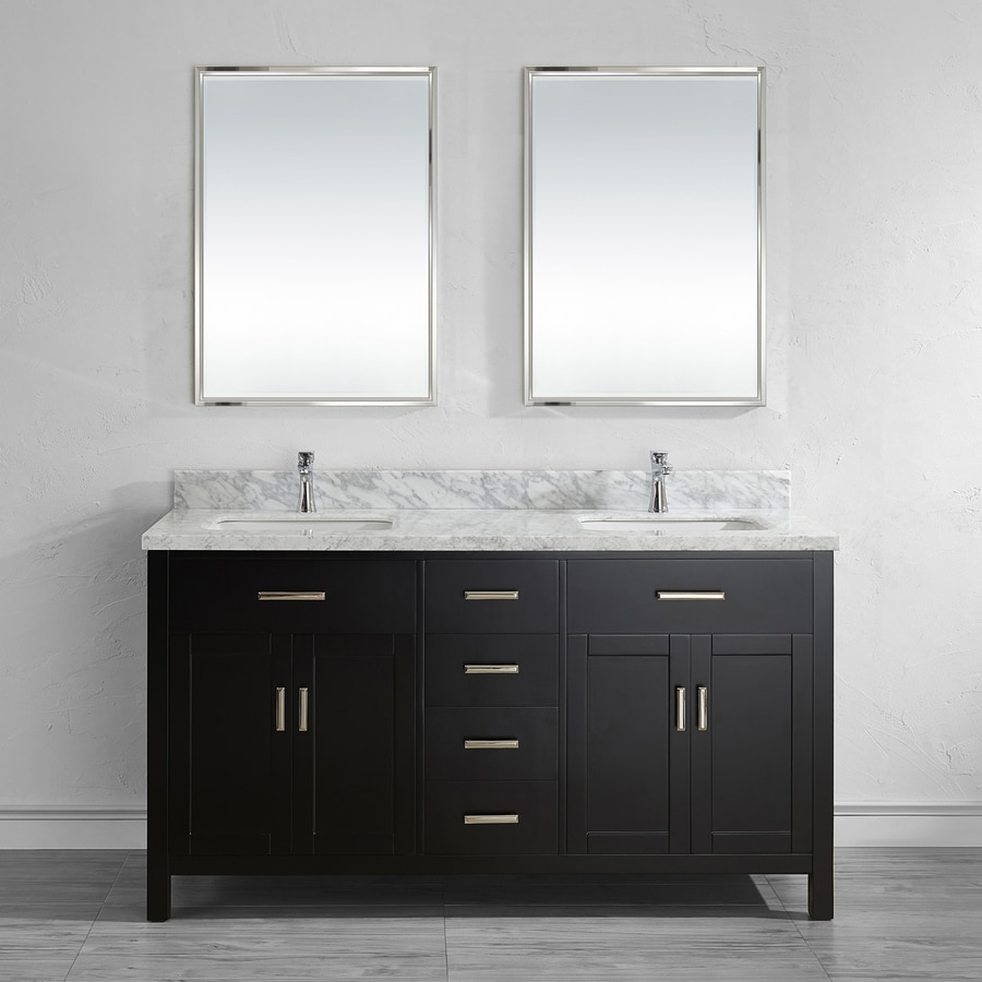 Spa Bathe Kenzie Espresso Undermount Double Sink Bathroom Vanity with Natural Marble Top (Common: 63-in x 22-in; Actual: 63-in x 22-in)