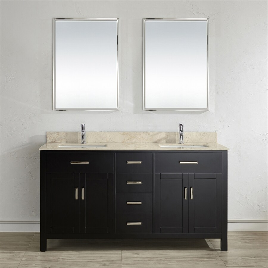 Spa Bathe Kenzie Espresso 63-in Undermount Double Sink Bathroom Vanity with Natural Marble Top (Mirror Included)