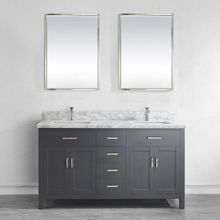 Spa Bathe Kenzie 63-in French Gray Undermount Double Sink Bathroom Vanity with Natural Marble Top (Mirror Included)