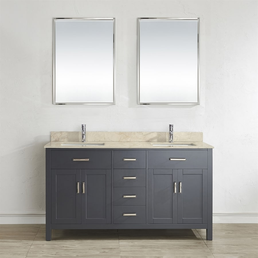 Spa Bathe Kenzie French Gray (Common: 63-in x 22-in) Undermount Double Sink Bathroom Vanity with Natural Marble Top (Mirror Included) (Actual: 63-in x 22-in)