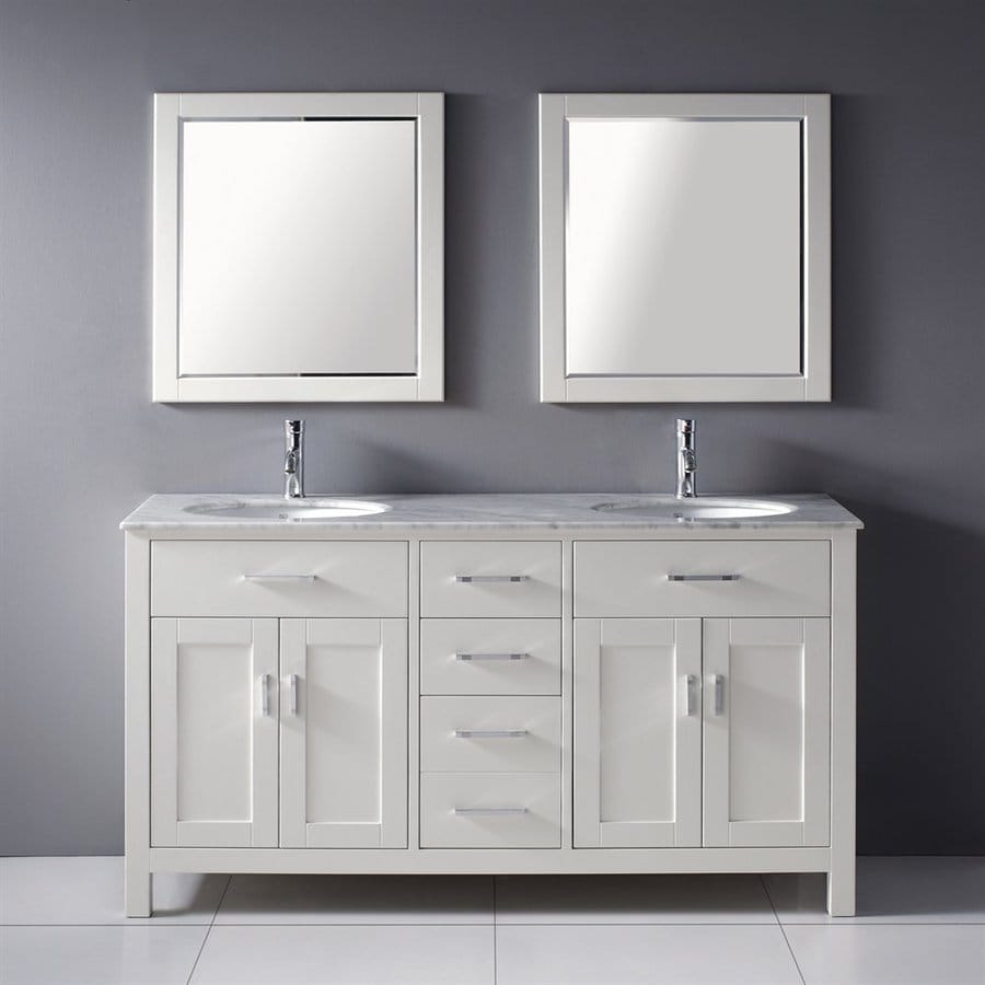 shop spa bathe kenzie white vanity with italian carerra 23103