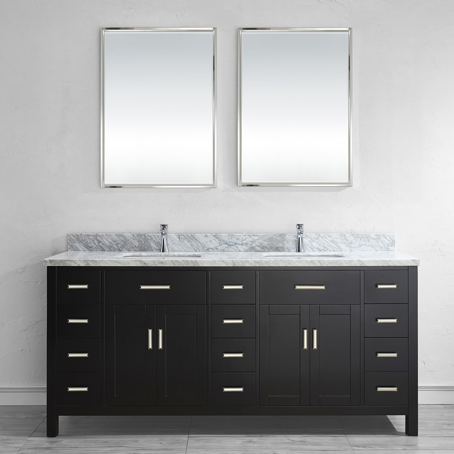 Spa Bathe Kenzie Espresso Undermount Double Sink Bathroom Vanity with Natural Marble Top (Common: 75-in x 22-in; Actual: 75-in x 22-in)