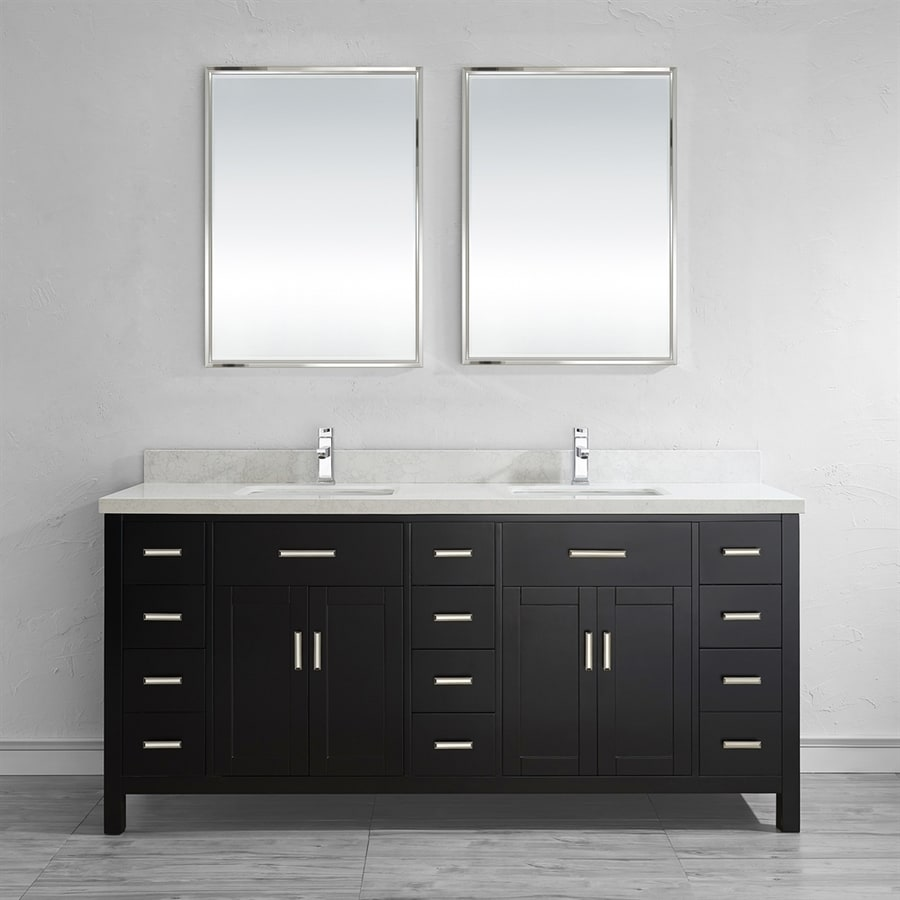 Spa Bathe Kenzie Espresso 75-in Undermount Double Sink Bathroom Vanity with Engineered Stone Top (Mirror Included)