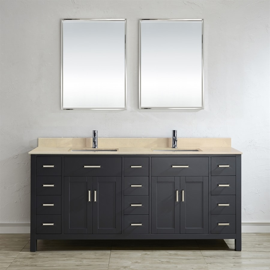 Spa Bathe Kenzie French Gray (Common: 75-in x 22-in) Undermount Double Sink Bathroom Vanity with Natural Marble Top (Mirror Included) (Actual: 75-in x 22-in)