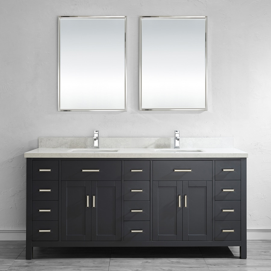 Spa Bathe Kenzie French Gray Double Sink Vanity With Off White/grey Veins  Engineered