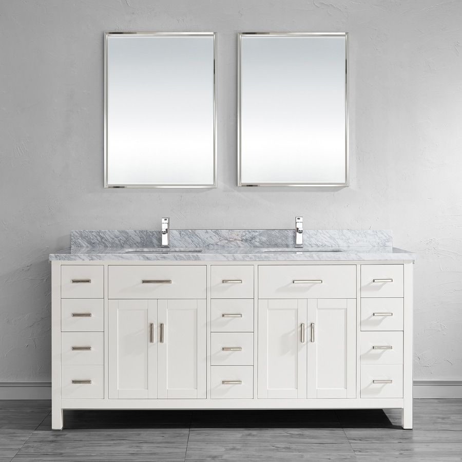 Spa Bathe Kenzie 75-in White Undermount Double Sink Bathroom Vanity with Natural Marble Top (Mirror Included)