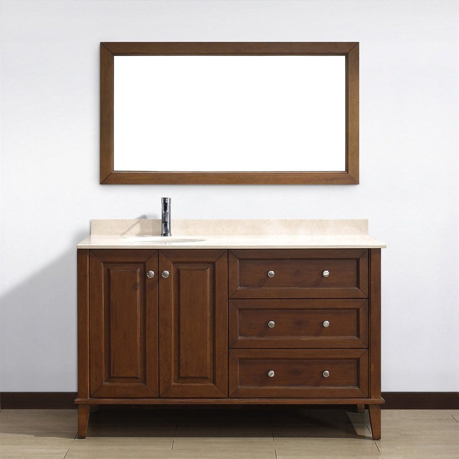 Spa Bathe Lauren Classic Cherry Undermount Single Sink Bathroom Vanity with Natural Marble Top (Common: 55-in x 22-in; Actual: 55-in x 22-in)