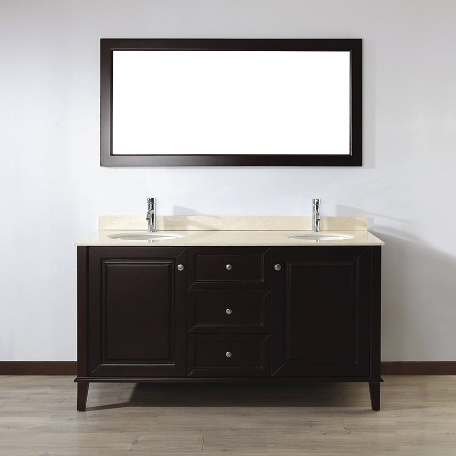 Spa Bathe Lauren Chai 63-in Undermount Double Sink Bathroom Vanity with Natural Marble Top (Mirror Included)