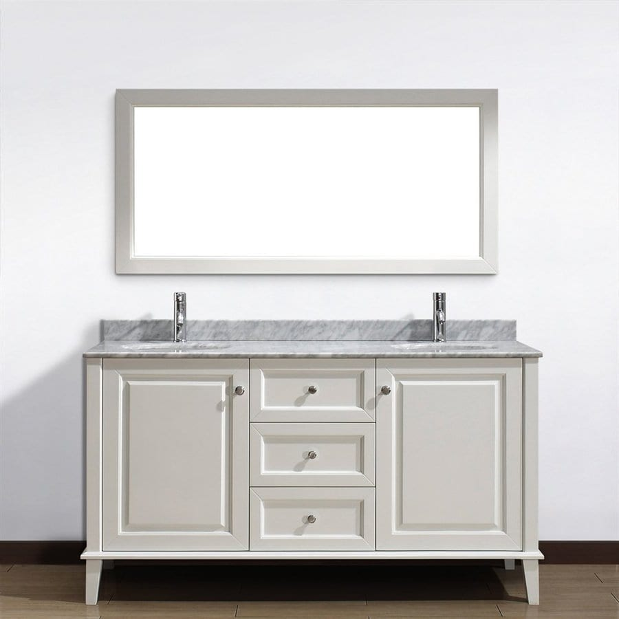 Spa Bathe Lauren White (Common: 63-in x 22-in) Undermount Double Sink Bathroom Vanity with Natural Marble Top (Mirror Included) (Actual: 63-in x 22-in)