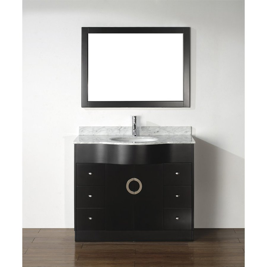 Spa Bathe Zuna Espresso (Common: 42-in x 22-in) Undermount Single Sink Bathroom Vanity with Natural Marble Top (Mirror Included) (Actual: 42-in x 22-in)