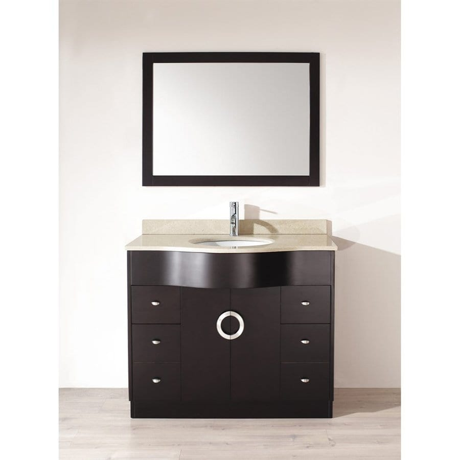 Spa Bathe Zuna Espresso 42-in Undermount Single Sink Bathroom Vanity with Natural Marble Top (Mirror Included)