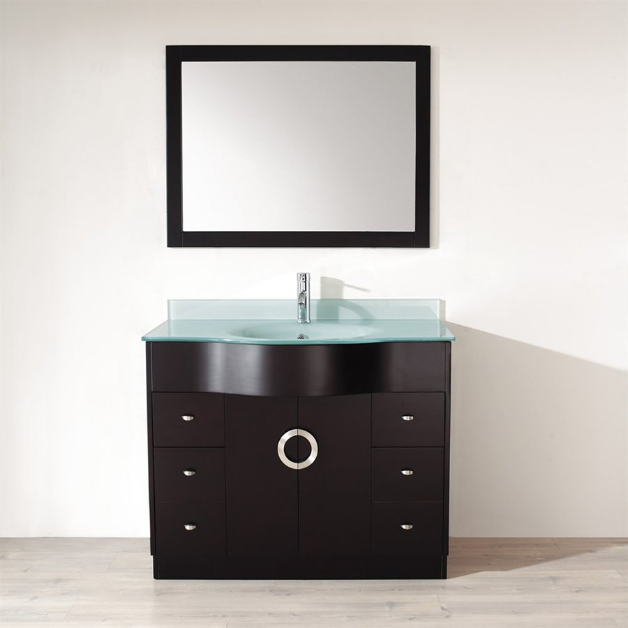 Spa Bathe Zuna Espresso (Common: 42-in x 22-in) Integral Single Sink Bathroom Vanity with Glass Top (Mirror Included) (Actual: 42-in x 22-in)