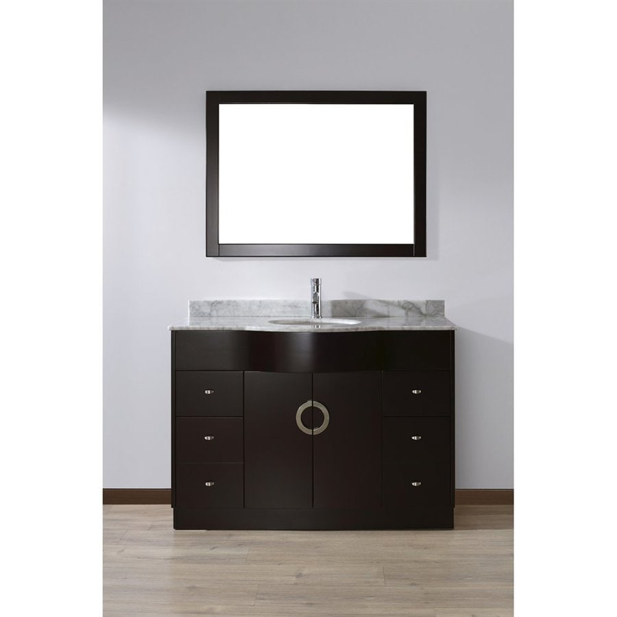 Spa Bathe Zuna Espresso 48-in Undermount Single Sink Bathroom Vanity with Natural Marble Top (Mirror Included)