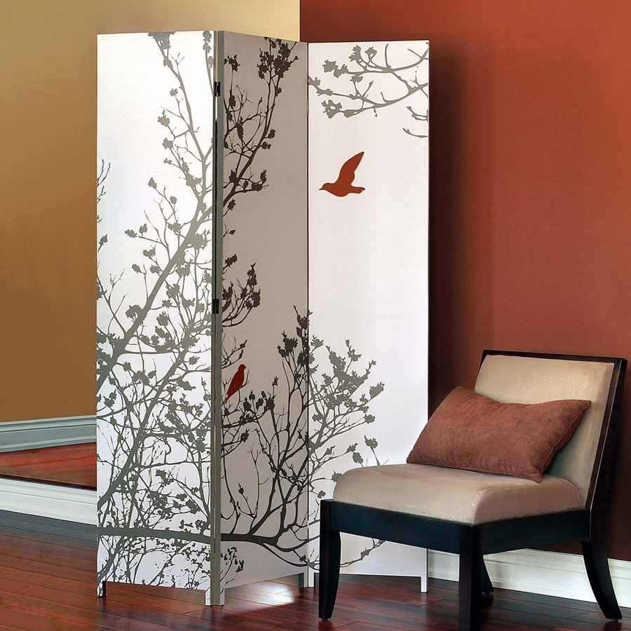Nexxt Designs Bota Bird 3-Panel Taupe/Red Cotton Folding Indoor Privacy Screen