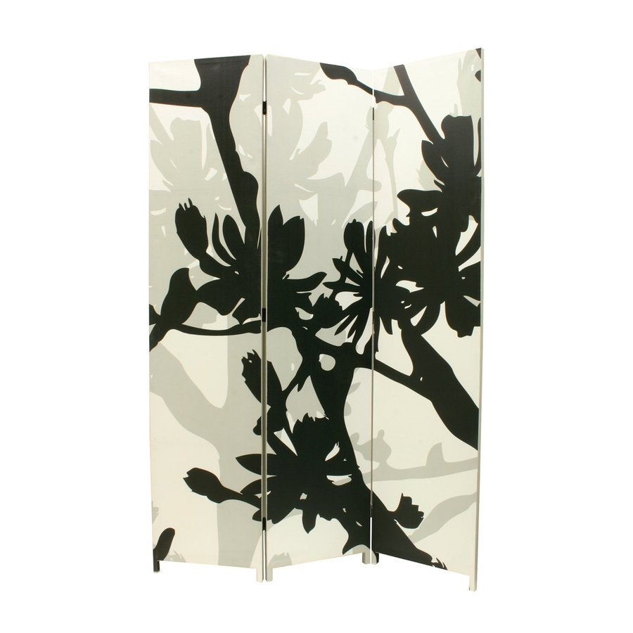 Nexxt Designs Bota 3-Panel Black/Taupe Frameless Cotton Folding Indoor Privacy Screen