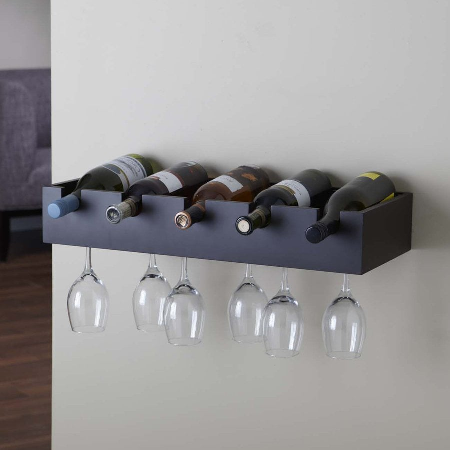 Nexxt Designs Ellington 5 Bottle Espresso Wall Mount Wine Rack At