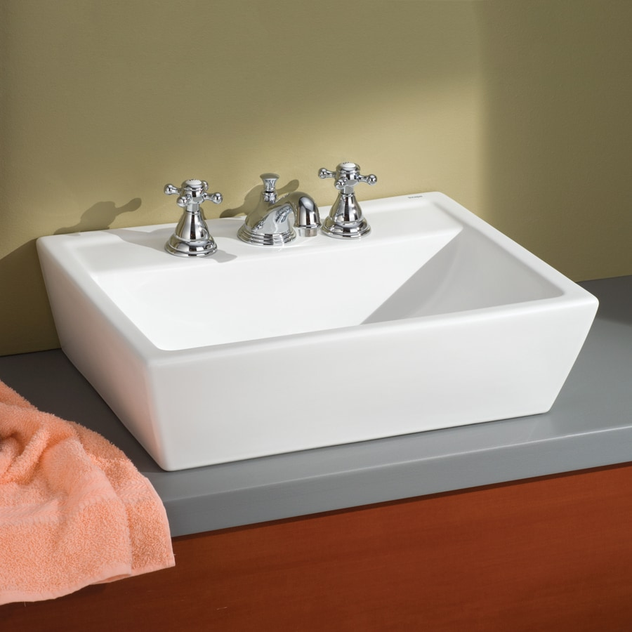 Cheviot Sentire White Ceramic Vessel Rectangular Bathroom Sink