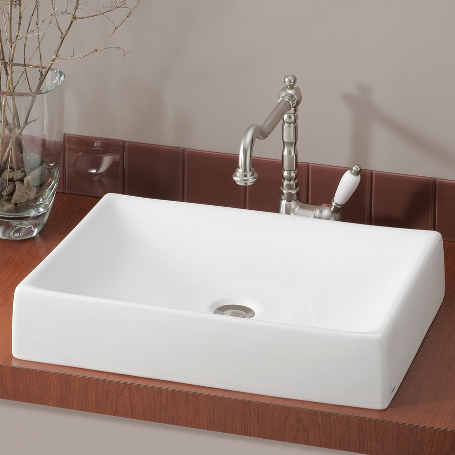 Cheviot Quattro White Vessel Rectangular Bathroom Sink At