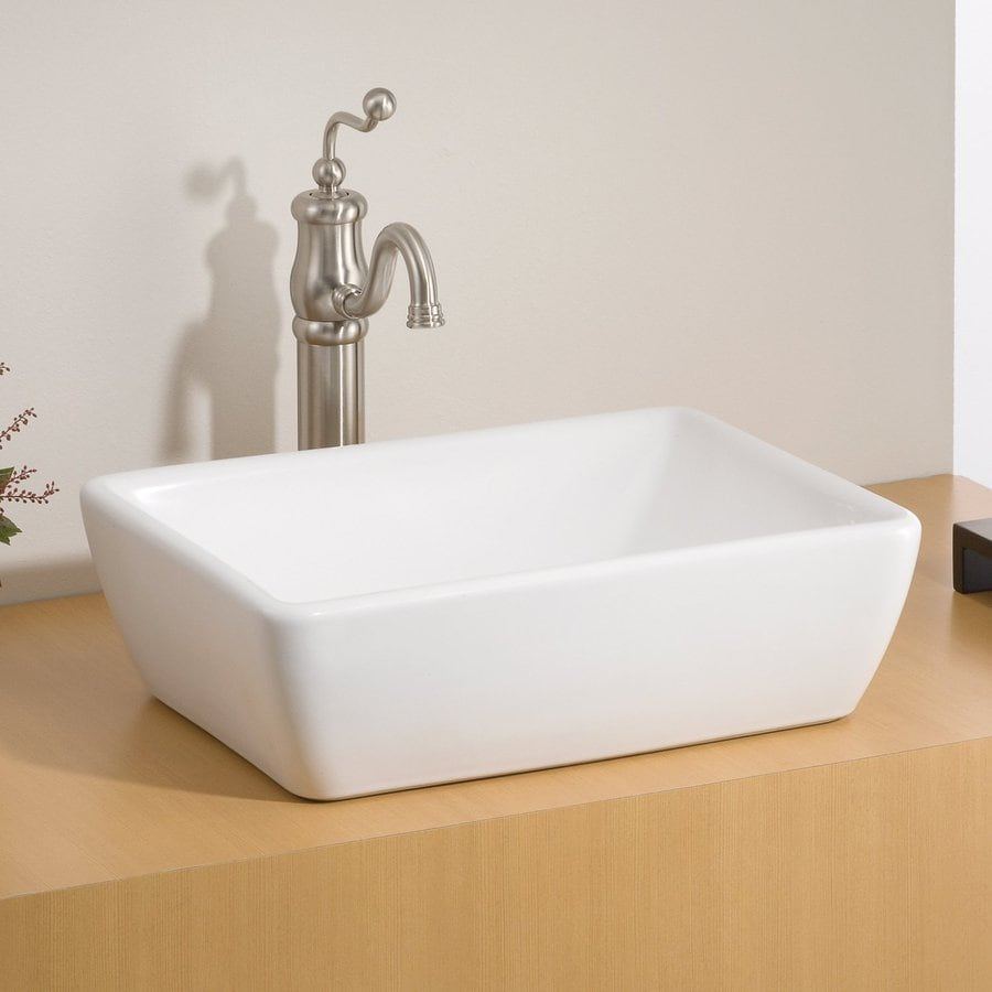 cheviot riviera white vessel rectangular bathroom sink at
