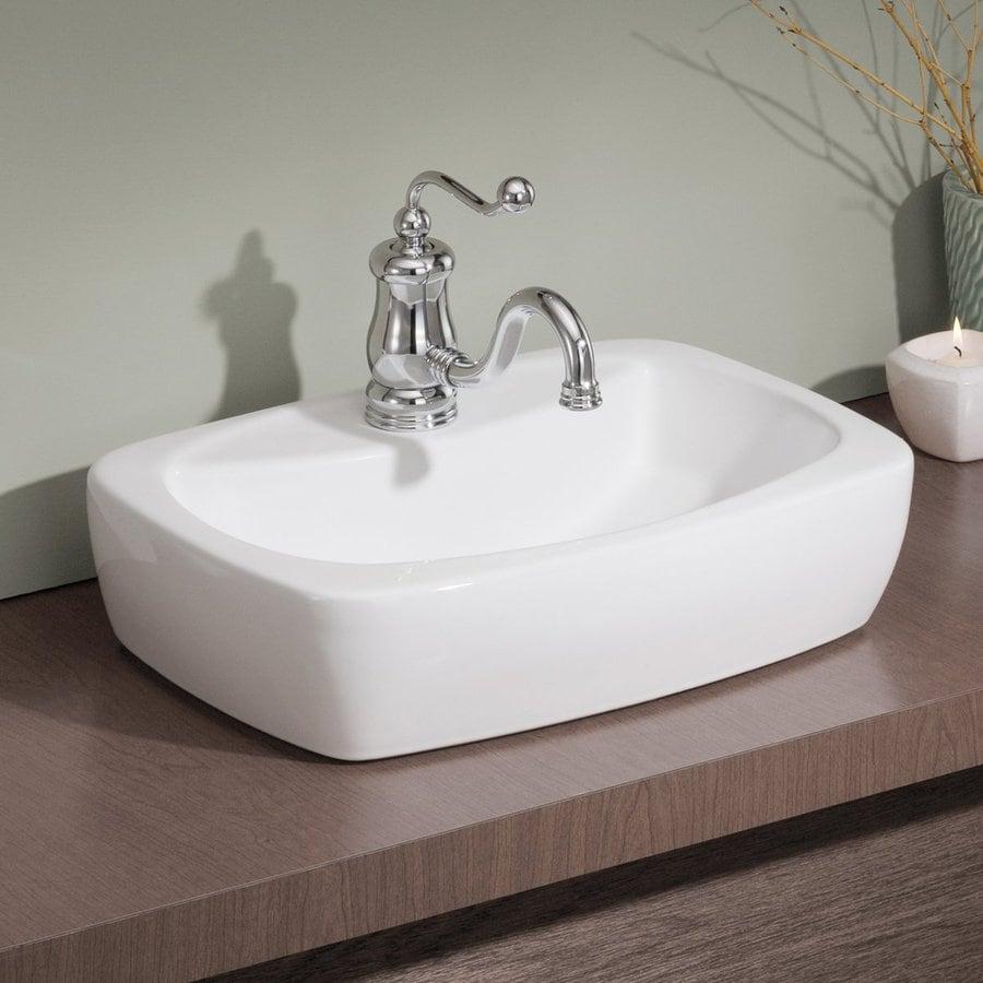 Shop Cheviot Thema White Vessel Rectangular Bathroom Sink