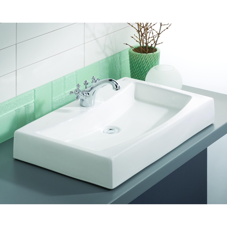 Cheviot Mediterranean White Vessel Rectangular Bathroom Sink