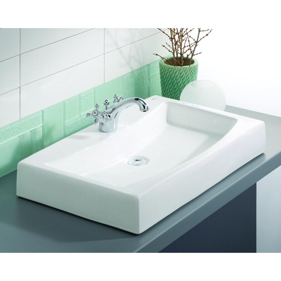 Cheviot Mediterranean White Vessel Rectangular Bathroom Sink
