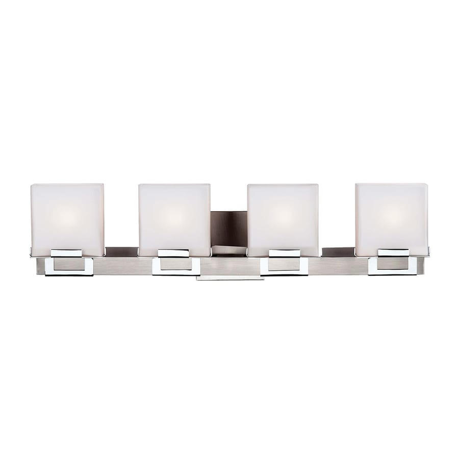 Philips 4-Light 6.25-in Satin nickel Square Vanity Light