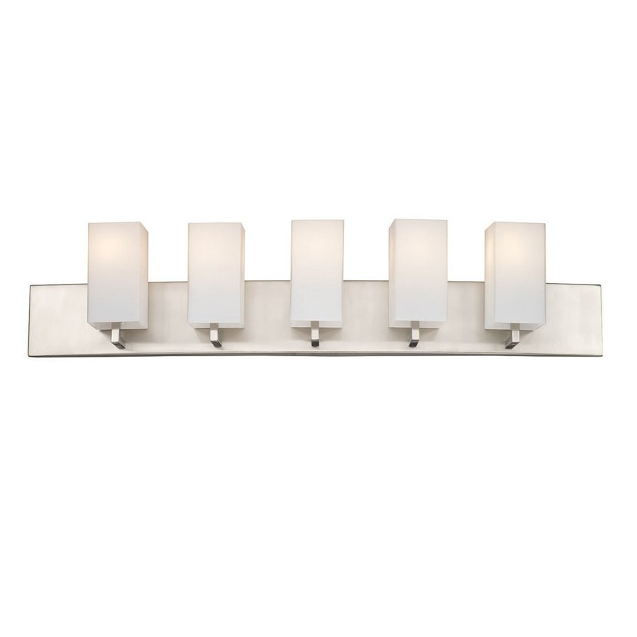 Philips Avenue 5-Light 7.75-in Satin nickel Rectangle Vanity Light