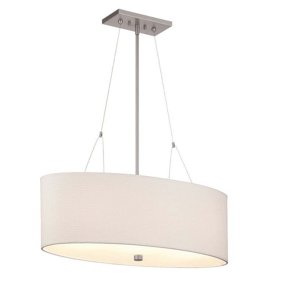 Philips Alexis 30-in Satin Nickel Etched Glass Oval Pendant