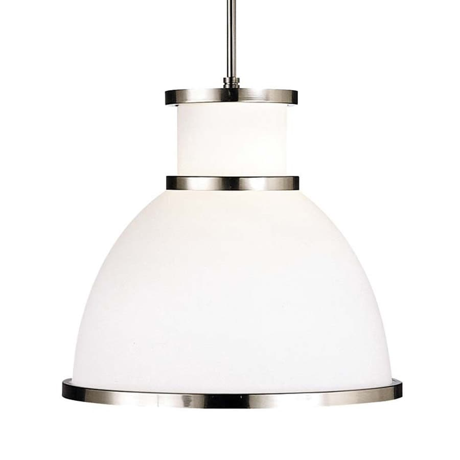 Philips Aurora 15.25-in Satin Nickel Etched Glass Warehouse Pendant