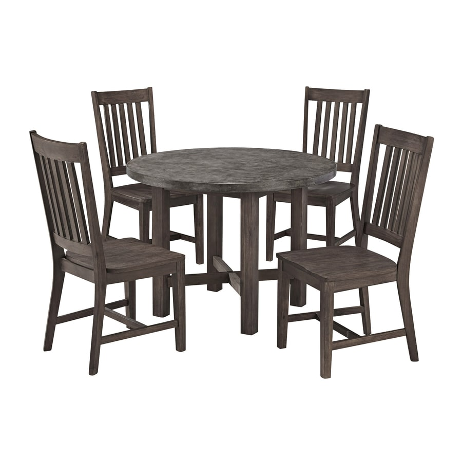 Home Styles Concrete Chic 5 Piece Brown/Gray Concrete Patio Dining Set