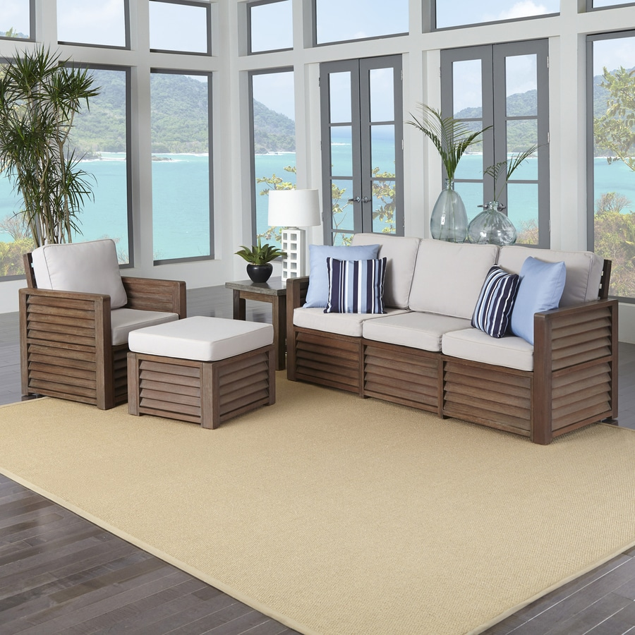 Home Styles Barnside 4-Piece Shorea Patio Conversation Set