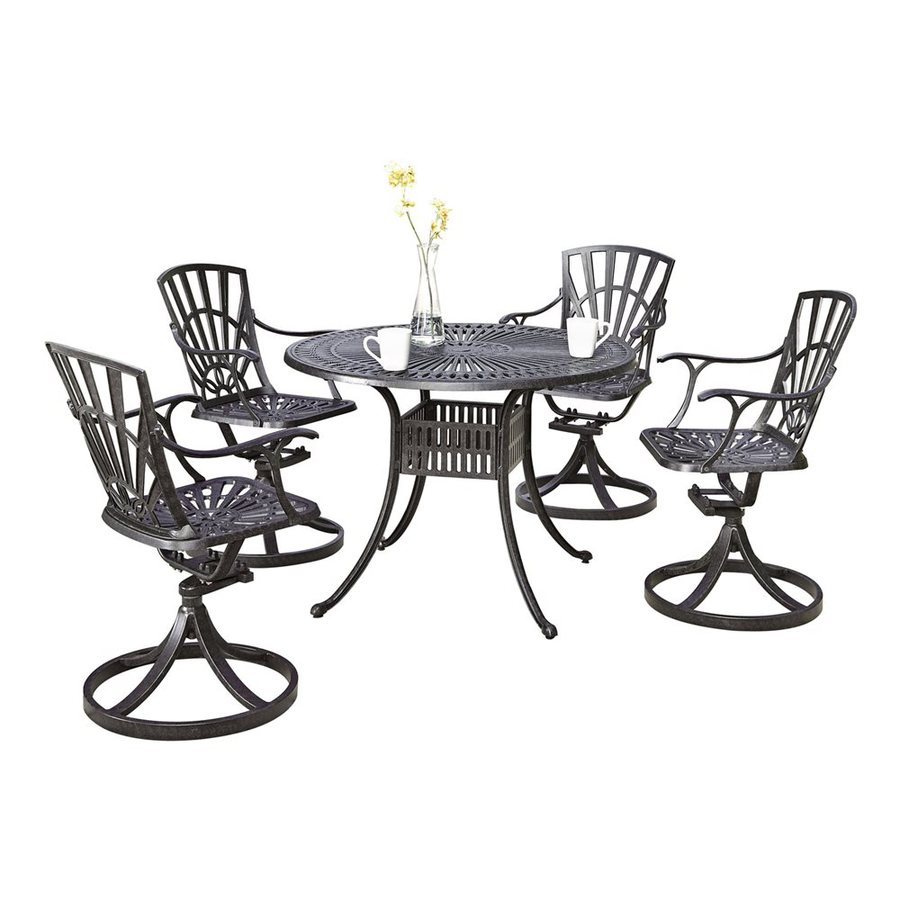 Home Styles Largo 5-Piece Charcoal Aluminum Patio Dining Set
