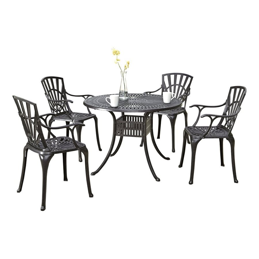 Home Styles Largo 5 Piece Charcoal Aluminum Dining Patio Set