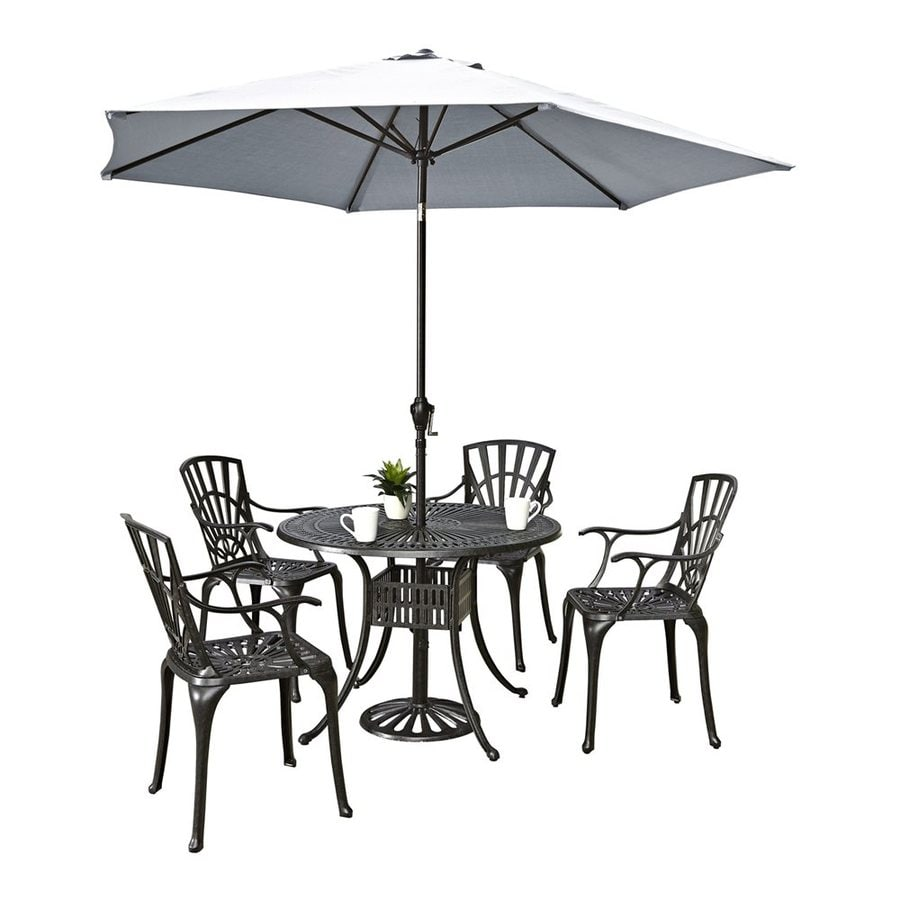 Home Styles Largo 6-Piece Charcoal Aluminum Dining Patio Dining Set
